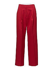Pleat textured trousers - MEDIUM RED