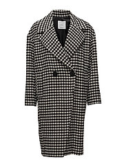 Checkered wool-blend coat - BLACK