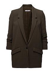 Ruched sleeves blazer - BEIGE - KHAKI