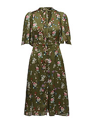 Bow floral dress - BEIGE - KHAKI