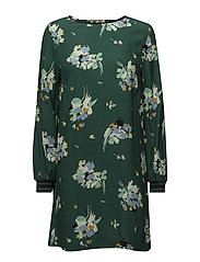 Trim floral dress - GREEN