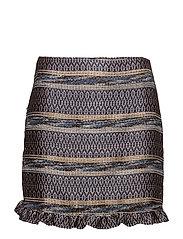 Geometric embroidery skirt - NAVY