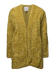 Faux fur coat - BRIGHT YELLOW