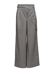 Wool palazzo trousers - DARK GREY