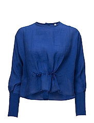 Ruched detail blouse - MEDIUM BLUE