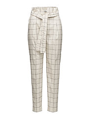 Belt check trousers - NATURAL WHITE