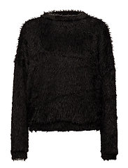 Textured mohair-blend sweater - BLACK