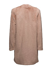 Shoulder pad faux fur coat - LT-PASTEL PINK