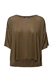 Fine-knit t-shirt - BEIGE - KHAKI