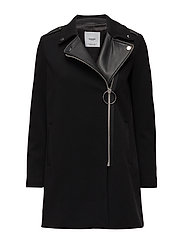 Contrast lapels coat - BLACK