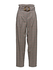 Tortoiseshell buckle check trousers - RED