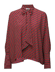 Striped bow blouse - RED