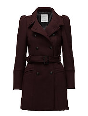 Puffed-shoulder wool coat - DARK RED