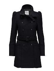 Puffed-shoulder wool coat - NAVY