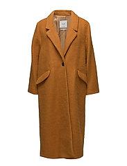 Mohair wool-blend coat - DARK YELLOW