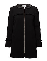Studded collar coat - BLACK