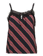 Striped lace top - BLACK
