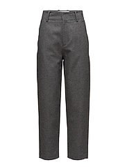 Flecked wool-blend trousers - DARK GREY