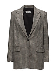 Prince of Wales wool-blend blazer - GREY