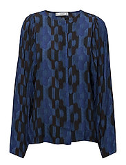 Geometric-print blouse - MEDIUM BLUE