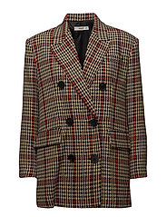 Houndstooth structured blazer - LIGHT BEIGE
