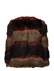 Striped faux-fur coat - RED