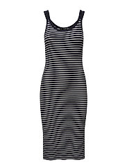 Striped fitted dress - NAVY