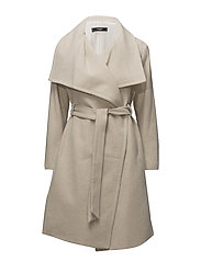 Wide lapel wool-blend coat - LIGHT BEIGE