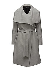 Wide lapel wool-blend coat - LT PASTEL GREY