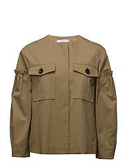 Ruched sleeve pocket jacket - BEIGE - KHAKI