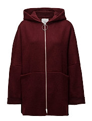 Hood mohair coat - DARK RED