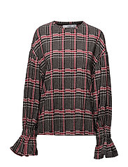 Puffed sleeves checked sweater - RED