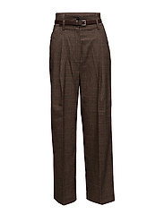 Check pleated trousers - BROWN