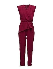 Wrap neckline jumpsuit - DARK RED