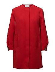 Textured cotton-blend coat - RED