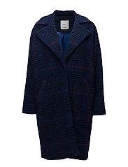 Checkered wool-blend coat - NAVY