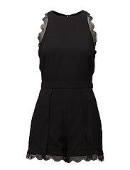 Blond-lace appliqu jumpsuit - BLACK