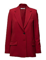 Structured textured blazer - MEDIUM RED
