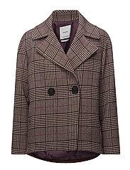 Checkered wool-blend coat - DARK RED