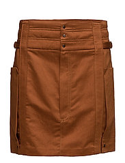 Organic linen cargo skirt - RUST - COPPER