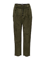 Pleated corduroy trousers - BEIGE - KHAKI