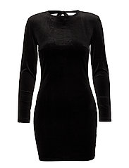 Shoulder pad velvet dress - BLACK