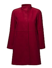 Straight-cut wool coat - RED