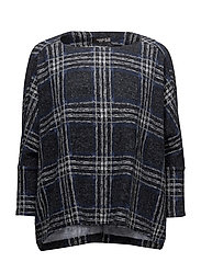 Square textured sweater - MEDIUM BLUE