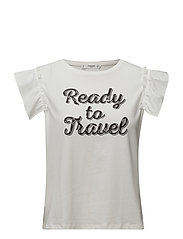 Ruffled sleeve t-shirt - NATURAL WHITE