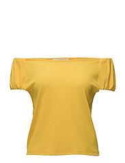 Linen-blend t-shirt - YELLOW