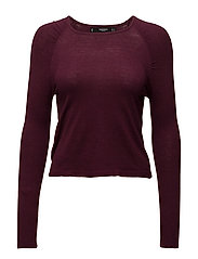 Puffed-shoulder sweater - DARK RED