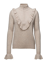 Ruffle zip sweater - LT PASTEL GREY