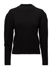 Puffed-shoulder sweater - BLACK
