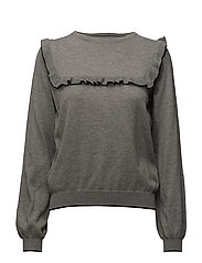 Ruffled detail sweater - MEDIUM GREY